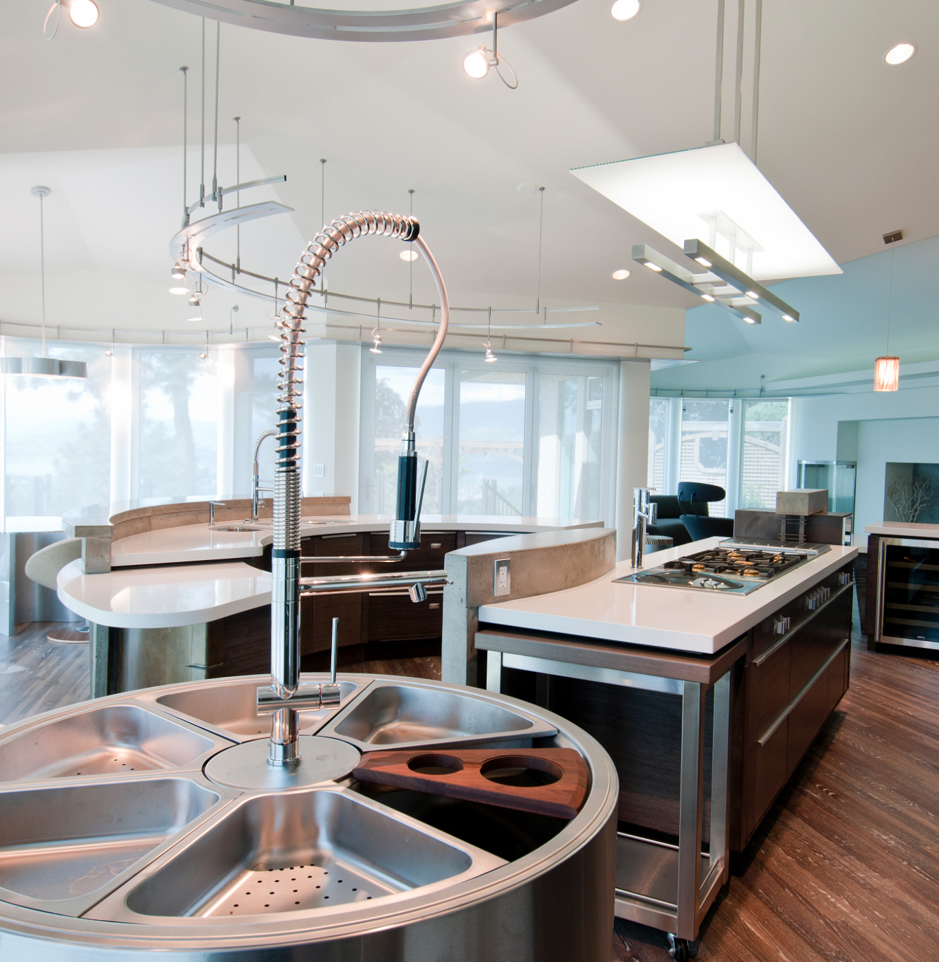 Curved island and sink