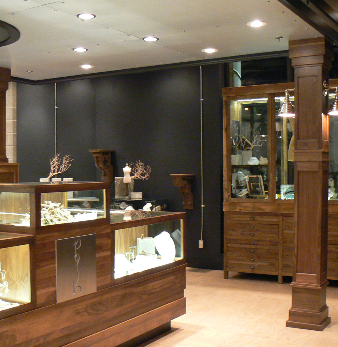 Wooden jewellery counter