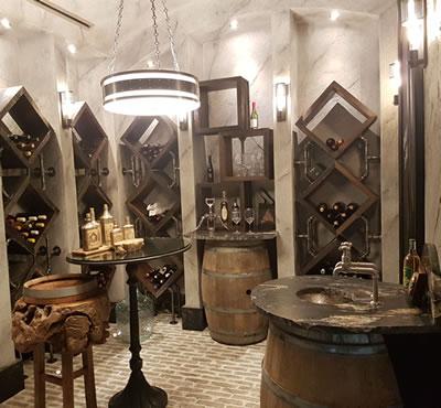 Custom wood crafted wine room