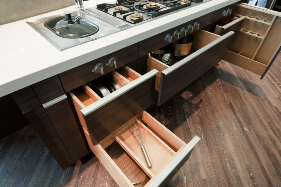 wooden kitchen drawers